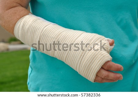 Injured Hand and Arm Wrapped in an Elastic Bandage