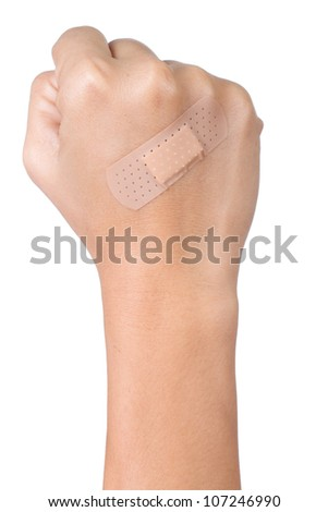 Injured hand with plaster on white background