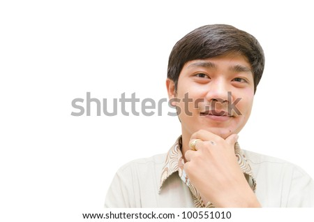 Injured ill man with his face with white background