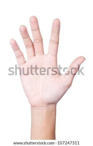Injured index finger covered by plaster on white background - stock photo