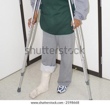 Injured Worker, disabled on the job, safety concepts, medical patient, broken leg