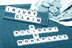 Injury claim concept with key words and cash compensation