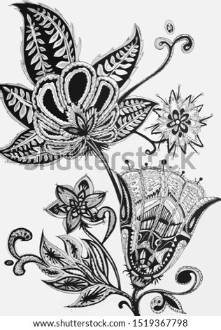Ink and ink graphics. Flowers in ink and pens. Decorative stylization. Beautiful flowers in black and white. Monochrome composition. Monochrome drawing of flowers. Flowers and leaves sketch