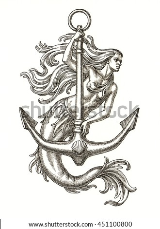 Ink and pen drawing, mermaid with anchor on white background.