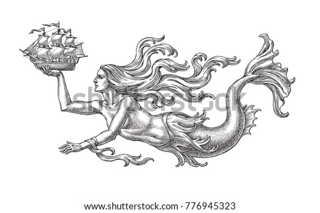 Ink and pen drawing, swimming mermaid and sailing ship, allegory of the sea, on white background.