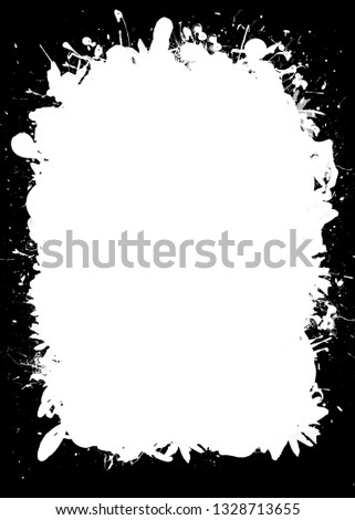 Ink and Splatter Decorative Black & White Photo Frame. Type Text Inside, Use as Overlay or for Layer / Clipping Mask