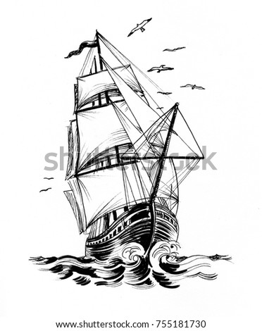Ink black and white illustration of an old ship in stormy sea