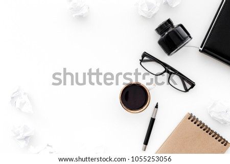 ink, dip pen, notebook, coffee, glasses for writer workplace set on white office background top view mock-up #1055253056