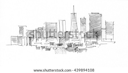 Ink Drawing Of A Landscape With Set Skyscrapers In San Francisco US 439894108