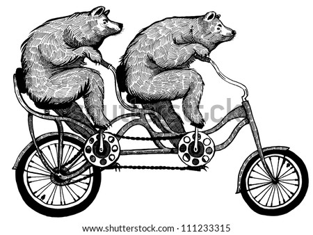 Ink drawing of two bears riding tandem bicycle - stock photo