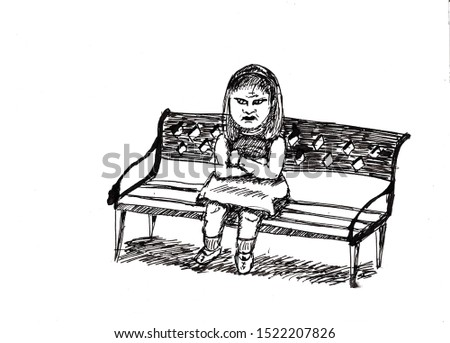 ink drawing sketch illustration offended girl sad child emotion unhappy