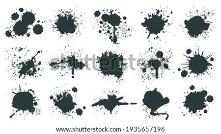 Ink drops. Paint splash, grunge liquid drop splashes, abstract artistic ink splatter. Black ink splashes  illustration set