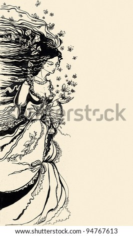 Ink Illustration of a female allegory of spring with flowers and butterflies. Empty space for your text