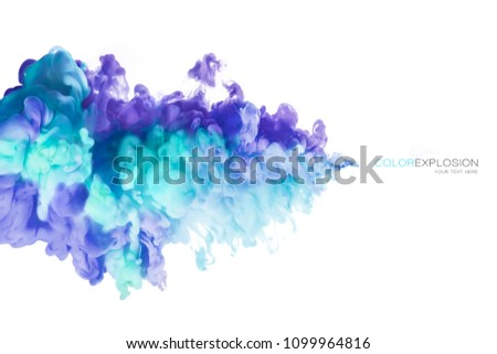 Ink in water isolated on white background. Color explosion. Paint texture