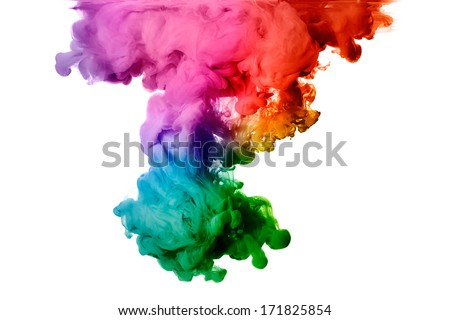 Ink in water isolated on white background. Rainbow of colors  - Shutterstock ID 171825854