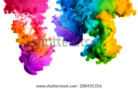 Ink in water isolated on white background. Rainbow of colors - Shutterstock ID 288435356