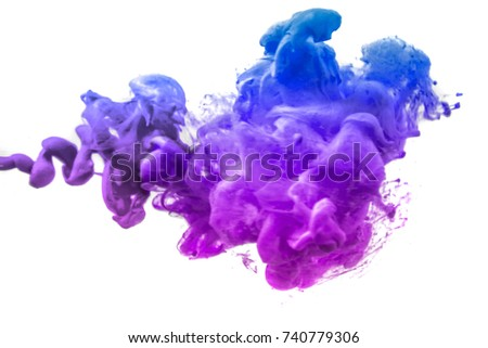 Stock Photo Ink in water isolated on white background. Rainbow of colors