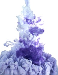 Ink in water. Splash paint mixing. Multicolored liquid dye. Abstract  sculpture background color