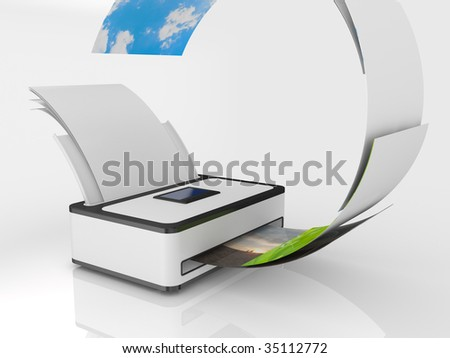 ink-jet printer with paper isolated on white background