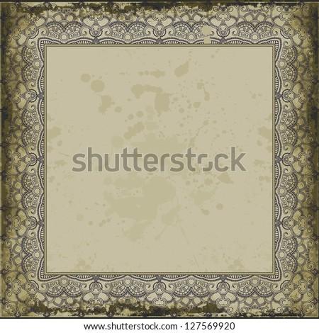 Ink ornamental frame on vintage background. Grunge design. Raster version