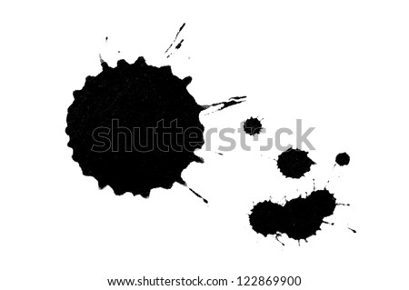 Ink pen and ink blot on the white background