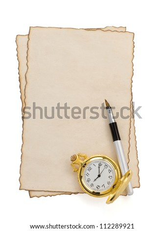ink pen and watch at parchment isolated on white background - stock photo