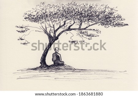 Ink pen drawing with Buddhist monk sitting under the tree. Hand drawn background for meditation, relaxation, restore, poster, book illustration. Original abstract artwork. Calm and peaceful scenery.