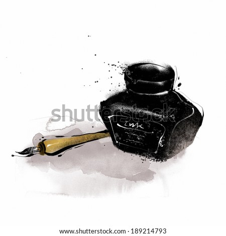 Ink Pot And Ink Pen