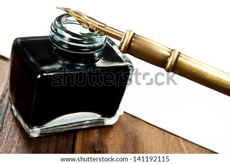 Ink Pot And Quill Stock Photo 141192115 : Shutterstock Quill And Ink Pot