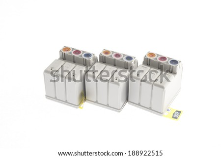 ink printer cartridges isolated on white