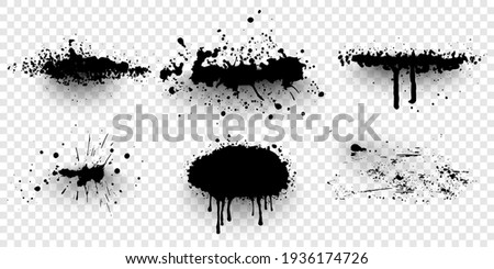 Ink splashes. Black inked splatter dirt stain splattered spray splash. Spray paint  elements isolated on White Background. Drips black ink splatters, Ink blots set.