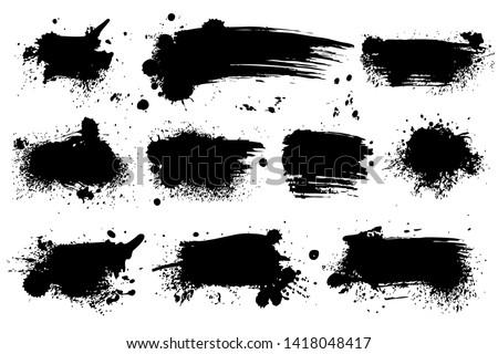 Ink splashes. Black inked splatter dirt stain splattered spray splash with drops blots isolated grunge silhouette set