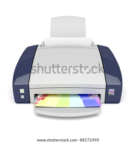 Inkjet printer on white background. Front view.