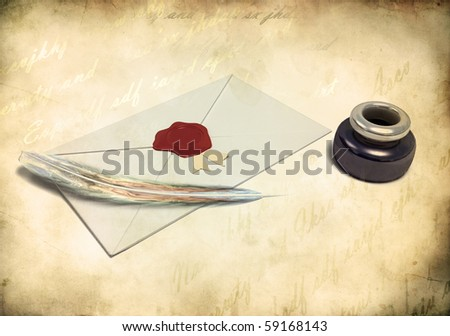 inkstand with a quill near envelope and empty sheet of paper