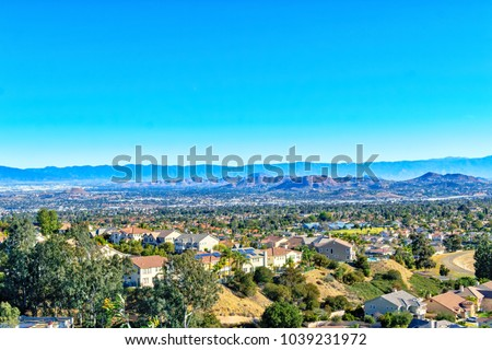 Inland Empire Southern California on clear spring morning looking east #1039231972
