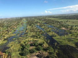 Inland from Beira, Mozambique 03-24-2019: Flooding after Cyclone Idai hit Mozambiquan coast. Tropical Cyclone Idai was one of the worst tropical cyclones on record to affect Africa