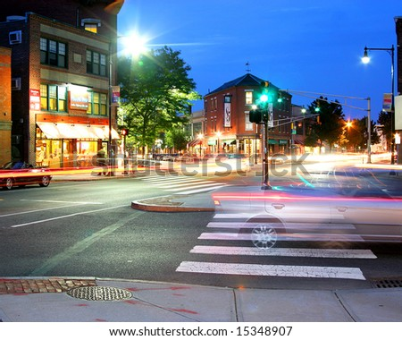 Inman Square, Cambridge at night