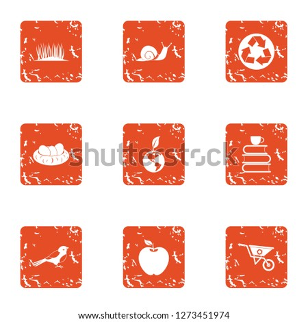 Innate icons set. Grunge set of 9 innate icons for web isolated on white background