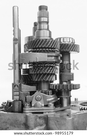inner automotive gearbox on isolated background