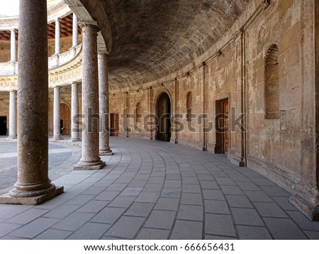 Inner corridors of courtyard of Palace of Charles V at Alhambra fortress in Granada, #666656431