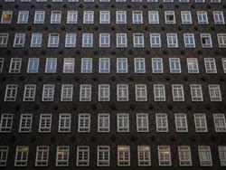 Inner courtyard facade of historical building Sprinkenhof Brick expressionist architecture Kontorhaus Hamburg Germany