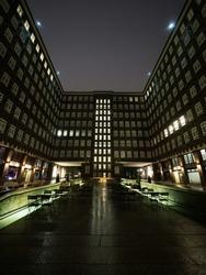 Inner courtyard facade of historical building Sprinkenhof Brick expressionist at night in Kontorhaus Hamburg Germany