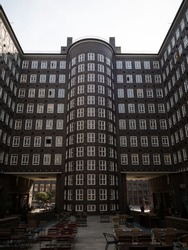 Inner courtyard facade of historical office building Sprinkenhof Brick expressionist architecture symmetry Kontorhaus Hamburg Germany Europe