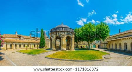 Inner courtyard of an old carthusian monastery Chartreuse de Villeneuve lez Avignon, France Stock fotó ©