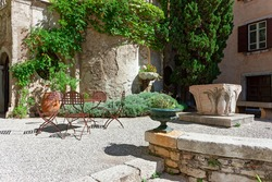 Inner courtyard of the castle Duino with old fountain
