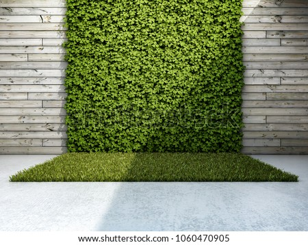 Inner courtyard with vertical garden. 3D illustration.