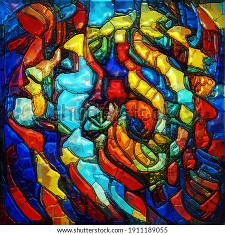 Inner Dreams series. Elements of a spiral and a female face colored and arranged into stained glass pattern on subject of spiritual reality, human drama, and artistic design. Stockfoto ©