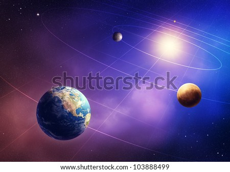 Inner four solar system planets (Elements of this image furnished by NASA- earthmap  http://visibleearth.nasa.gov)