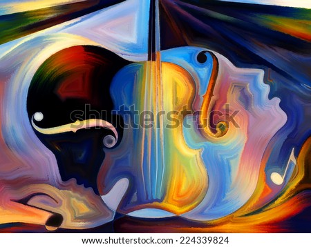 Inner Melody series. Backdrop of colorful human and musical shapes on the subject of spirituality of music and performing arts