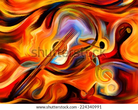 Inner Melody series. Background design of colorful human and musical shapes on the subject of spirituality of music and performing arts